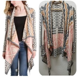 Ellison Aztec Open Front Knit Cardigan Sweater